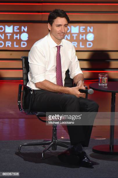 Prime Minister of Canada Justin Trudeau speaks during the Eighth Annual Women In The World Summit at Lincoln Center for the Performing Arts on April...