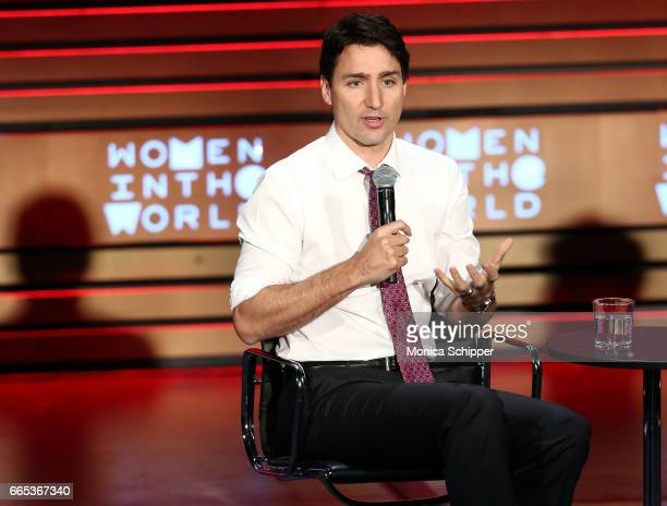 Prime Minister of Canada Justin Trudeau speaks on stage at the 8th Annual Women In The World Summit at Lincoln Center for the Performing Arts on...