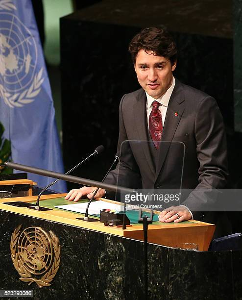 Prime Minister of Canada Justin Trudeau speaks prior to signing the Paris Agreement For Climate Change during the Paris Agreement For Climate Change...