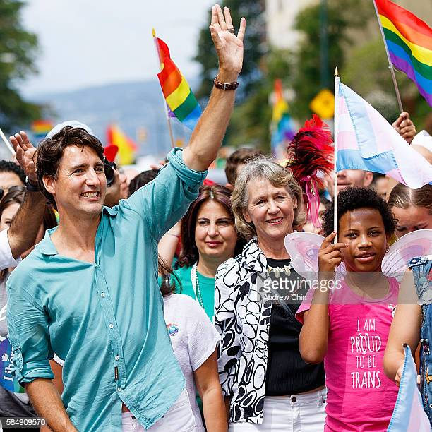 Prime Minister of Canada Justin Trudeau waves to the crowd during the 38th Annual Vancouver Pride Parade on July 31 2016 in Vancouver Canada
