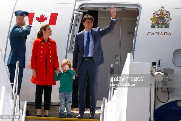 Prime Minister of Canada Justin Trudeau with first lady Sophie Trudeau and their youngest son Hadrien arrive at Hamburg Airport for the Hamburg G20...