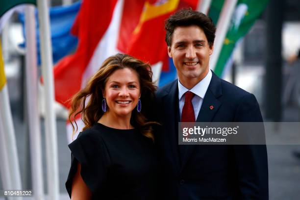 Prime Minister of Canada Justin Trudeau with his wife Sophie Trudeau arrive to attend a concert at the Elbphilharmonie philharmonic concert hall on...