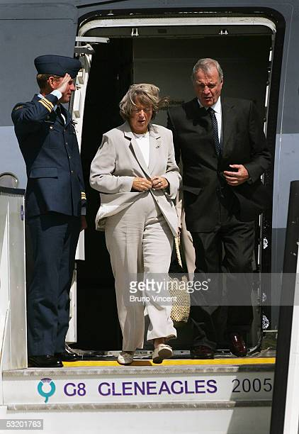 Prime Minister of Canada Paul Martin and his wife Sheila Martin arrive step off their plane at Prestwick Airport July 6 2005 in Prestwick Scotland...