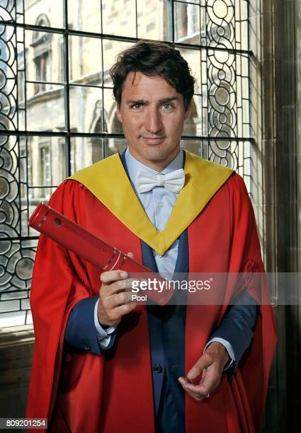 Prime Minister of Canada The Rt Hon Justin Trudeau is awarded an honorary degree at the University of Edinburgh on July 5 2017 in Endinburgh Scotland...