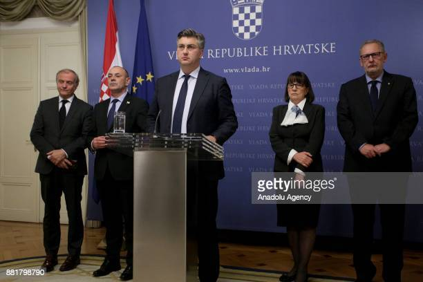 Prime Minister of Croatia Andrej Plenkovic speaks during the press conference on former Croat general Slobodan Praljak's death in Zagreb Croatia on...