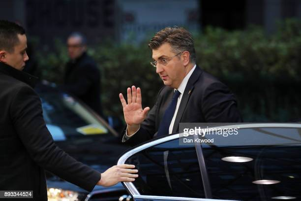 Prime Minister of Croatia Tihomir Oreskovic arrives for the second day of the European Union leaders summit at the European Council on December 15...