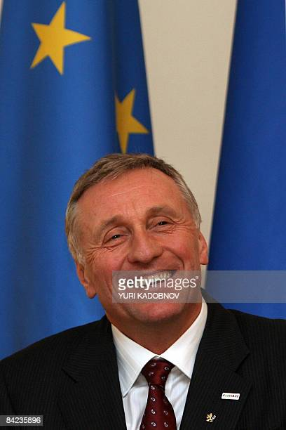 Prime Minister of Czech Republic Mirek Topolanek smiles during a news conference in the residence of NovoOgaryovo outside Moscow on January 10 2009...