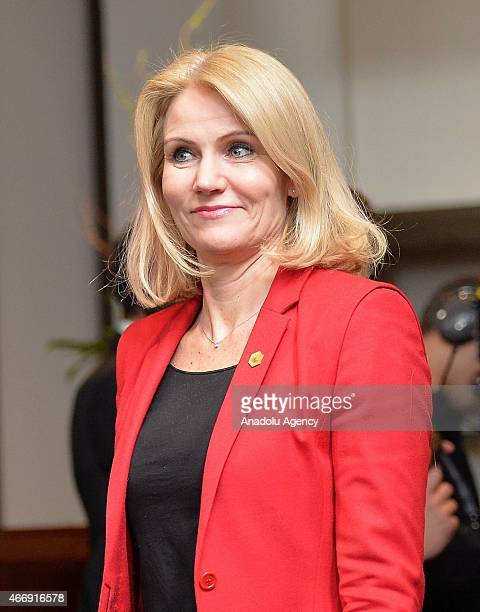 Prime Minister of Denmark Helle ThorningSchmidt attends EU Summit on the first day at European Council headquarters in Brussels Belgium on March 19...