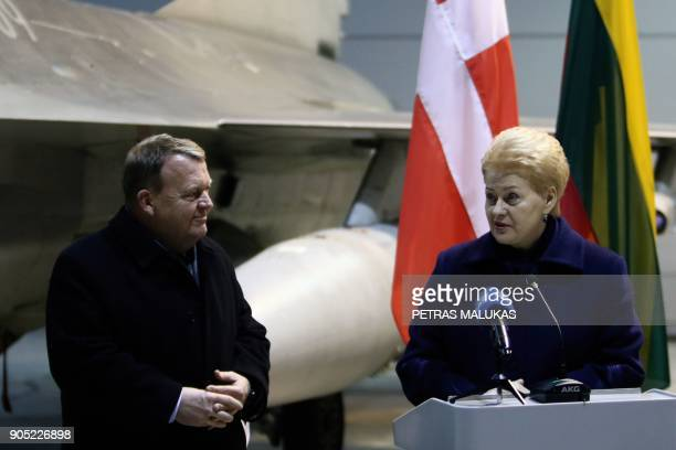 Prime Minister of Denmark Lars Loekke Rasmussen and Lithuanian President Dalia Grybauskaite attend a press conference after their meeting at the...