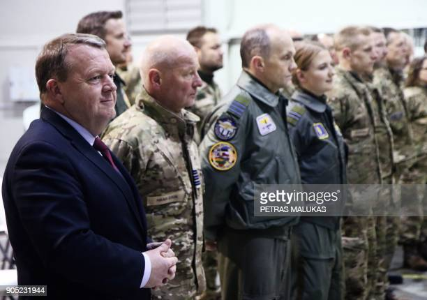 Prime Minister of Denmark Lars Loekke Rasmussen and Lithuanian President Dalia Grybauskaite visit the Lithuanian Air Force Base prior a meeting in...