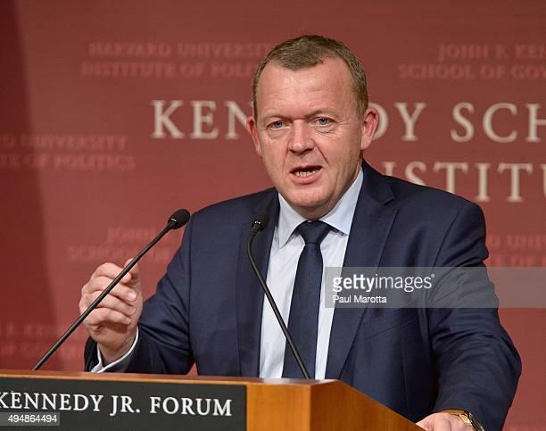 Prime Minister Of Denmark Lars Lokke Rasmussen gives a talk at Harvard University John F. Kennedy School of Government John Kennedy Jr. Forum...