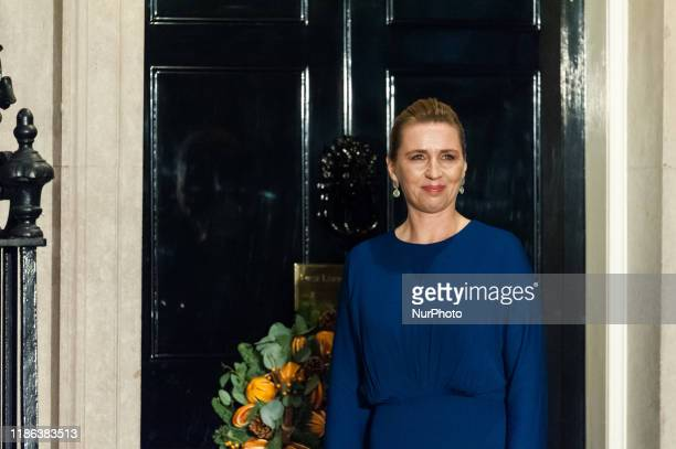 Prime Minister of Denmark Mette Frederiksen arrives at 10 Downing Street to attend a reception for NATO leaders hosted by British Prime Minister...