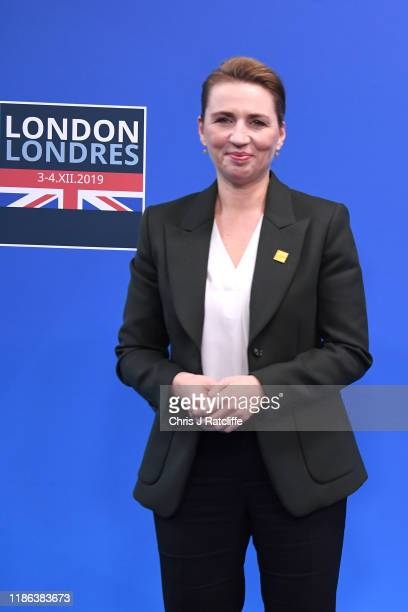 Prime Minister of Denmark Mette Frederiksen arrives for the NATO summit at the Grove Hotel on December 4 2019 in Watford England France and the UK...