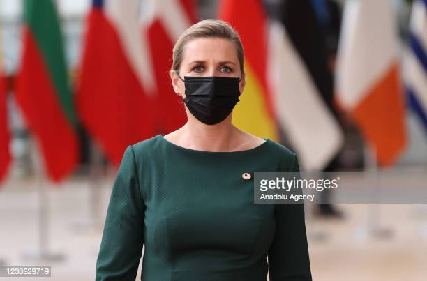 Prime Minister of Denmark Mette Frederiksen speaks to press members as she arrives for the first day of European Union Summit at The European Council...
