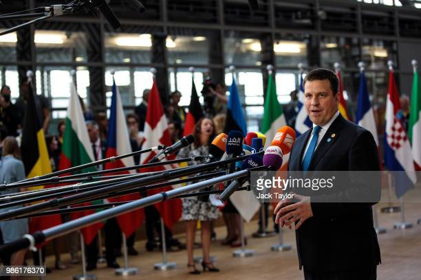 Prime Minister of Estonia Juri Rata arrives at the Council of the European Union on the first day of the European Council leaders' summit on June 28...