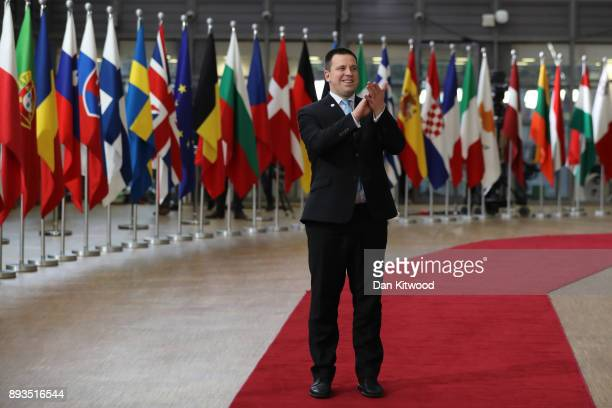 Prime Minister of Estonia Juri Ratas arrives for the European Union leaders summit at the European Council on December 14 2017 in Brussels Belgium...