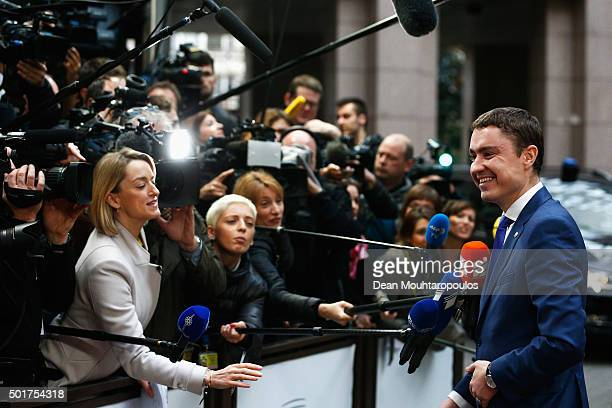 Prime Minister of Estonia Taavi Roivas arrives for The European Council Meeting In Brussels held at the Justus Lipsius Building on December 17 2015...