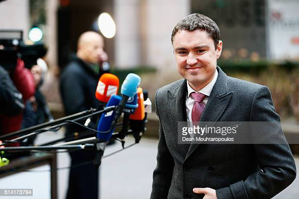 Prime Minister of Estonia Taavi Roivas arrives for The European Council Meeting In Brussels held at the Justus Lipsius Building on March 7 2016 in...