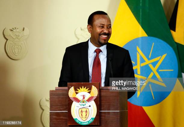 Prime Minister of Ethiopia Abiy Ahmed Ali speaks during a press conference with South African President at the Union Buildings in Pretoria on January...