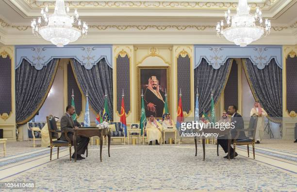Prime Minister of Ethiopia Abiy Ahmed and President of Eritrea Isaias Afwerki attend a signing ceremony hosted by King of Saudi Arabia Salman bin...