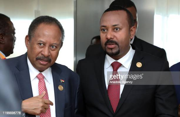 Prime Minister of Ethiopia Abiy Ahmed and Prime minister of Sudan Abdalla Hamdok attend the opening session of the 33rd African Union Heads of State...