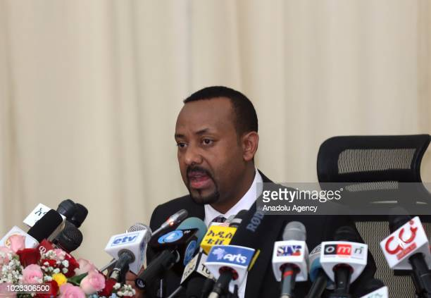 Prime Minister of Ethiopia Abiy Ahmed answers the questions of press members in Addis Ababa Ethiopia on August 25 2018