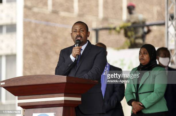 """Prime Minister of Ethiopia, Abiy Ahmed speaks at the parade of Ethiopian Federal Police organized under the theme of """"We exist to serve and protect..."""