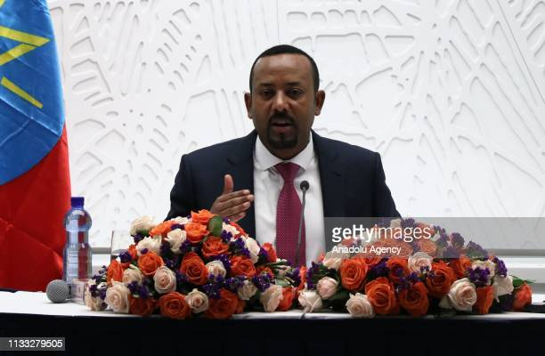 Prime Minister of Ethiopia Abiy Ahmed speaks during a press conference in Addis Ababa, Ethiopia on March 28, 2019.