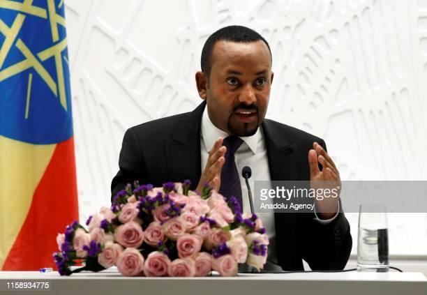 Prime Minister of Ethiopia, Abiy Ahmed speaks during a press conference on general elections in Addis Ababa, Ethiopia on August 01, 2019.
