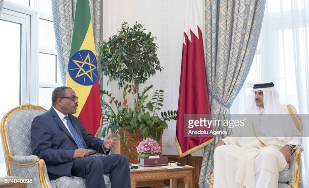 Prime Minister of Ethiopia Hailemariam Desalegn meets Emir of Qatar Sheikh Tamim bin Hamad Al Thani in Doha Qatar on November 14 2017