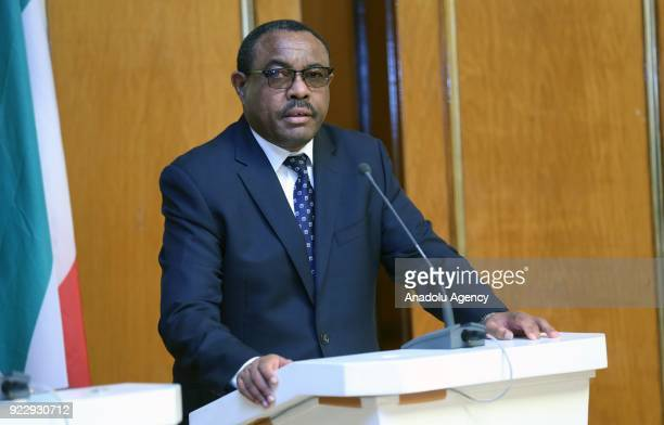 Prime Minister of Ethiopia Hailemariam Desalegn speaks during a joint press conference held with The President of Equatorial Guinea Teodoro Obiang...