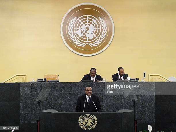 Prime Minister of Ethiopia Hailemariam Desalegn speaks during the 68th Session of the United Nations General Assembly on September 25 2013 in New...