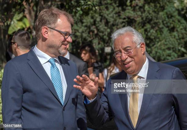 Prime Minister of Finland Juha Sipila and Portugal's Prime Minister Antonio Costa arrive together for a working meeting at the PM office in Palacete...