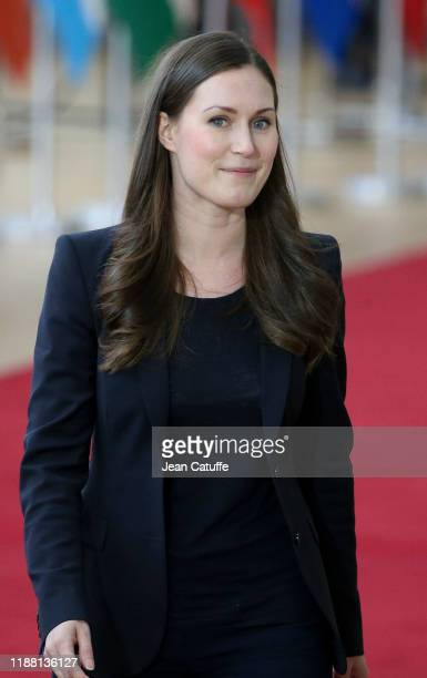 Prime Minister of Finland Sanna Marin arrives for the december European Council at the Europa building on December 12 2019 in Brussels Belgium This...