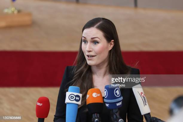 Prime Minister of Finland Sanna Marin as seen arriving on the red carpet with EU flags at forum Europa building The Finnish PM Sanna Mirella Marin...