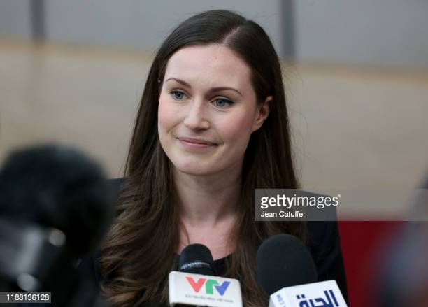 Prime Minister of Finland Sanna Marin speaks to the media at the Europa building on December 12 2019 in Brussels Belgium This is the first EU summit...