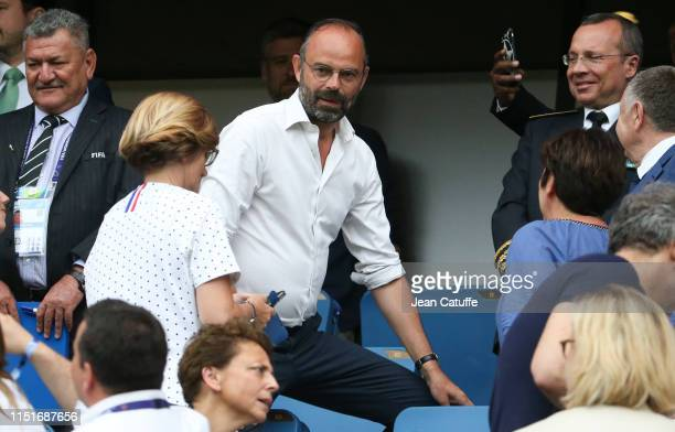 Prime Minister of France Edouard Philippe attends the 2019 FIFA Women's World Cup France Round Of 16 match between France and Brazil at Stade Oceane...