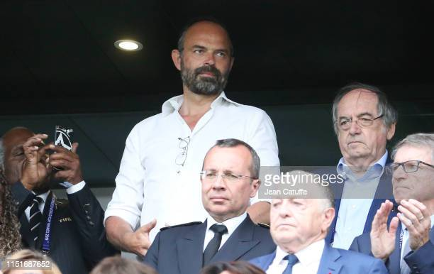 Prime Minister of France Edouard Philippe President of French Football Federation FFF Noel Le Graet attend the 2019 FIFA Women's World Cup France...