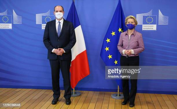 Prime Minister of France Jean Castex meets European Commission President Ursula von der Leyen in Brussels, Belgium on October 23, 2020.