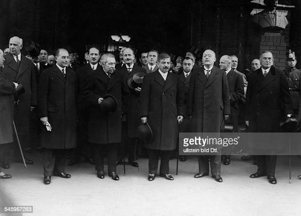 Prime Minister of France Pierre Laval and Foreign Minister Aristide Briand on a visit to Germany after the arrival at Freidrichstrasse station from...