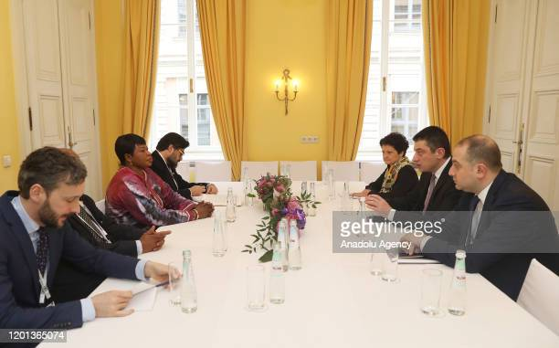 Prime Minister of Georgia Giorgi Gakharia meets International Criminal Court's chief prosecutor Fatou Bensouda in Munich Germany on February 16 2020