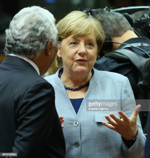Prime Minister of Germany Angela Merkel and Prime Minister of Portugal Antonio Costa attend the European Council Meeting at the Council of the...
