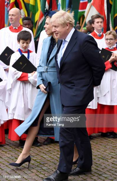 Prime Minister of Great Britain Boris Johnson and Carrie Symonds depart after attending the Commonwealth Day Service 2020 at Westminster Abbey on...