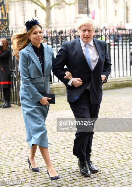 Prime Minister of Great Britain Boris Johnson and Carrie Symonds attend the Commonwealth Day Service 2020 at Westminster Abbey on March 09, 2020 in...