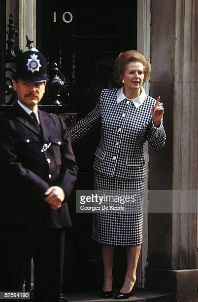 Prime Minister of Great Britain, Margaret Thatcher, gestures outside 10 Downing Street May 4, 1989 in London.