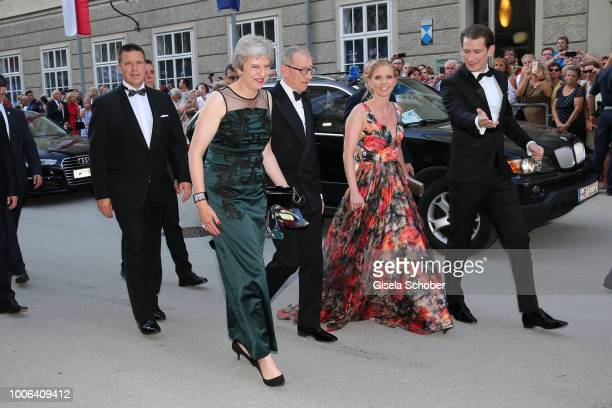 Prime Minister of Great Britain Theresa May and her husband Philip May Chancellor of Austria Sebastian Kurz and his girlfriend Susanne Thier during...