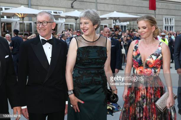 Prime Minister of Great Britain Theresa May and her husband Philip May Susanne Thier during the premiere of 'Die Zauberfloete' during the Salzburg...