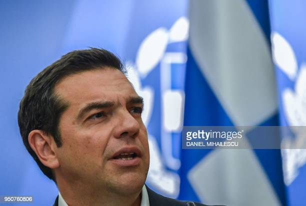 Prime Minister of Greece Alexis Tsipras addresses a press conference at the end of the highlevel quadrilateral meeting RomaniaBulgariaGreeceSerbia at...