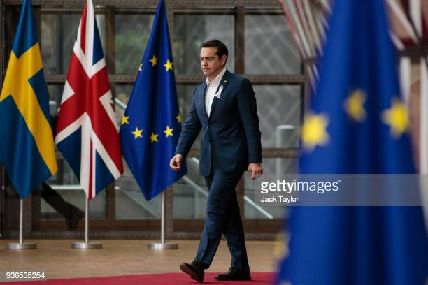 Prime Minister of Greece Alexis Tsipras arrives at the Council of the European Union for the first day of the European Council leaders' summit on...