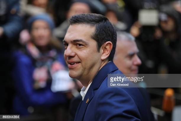 Prime Minister of Greece Alexis Tsipras arrives for the second day of the European Union leaders summit at the European Council on December 15 2017...